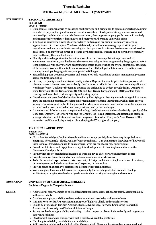 Technical Architect Resume  Bijeefopijburgnl