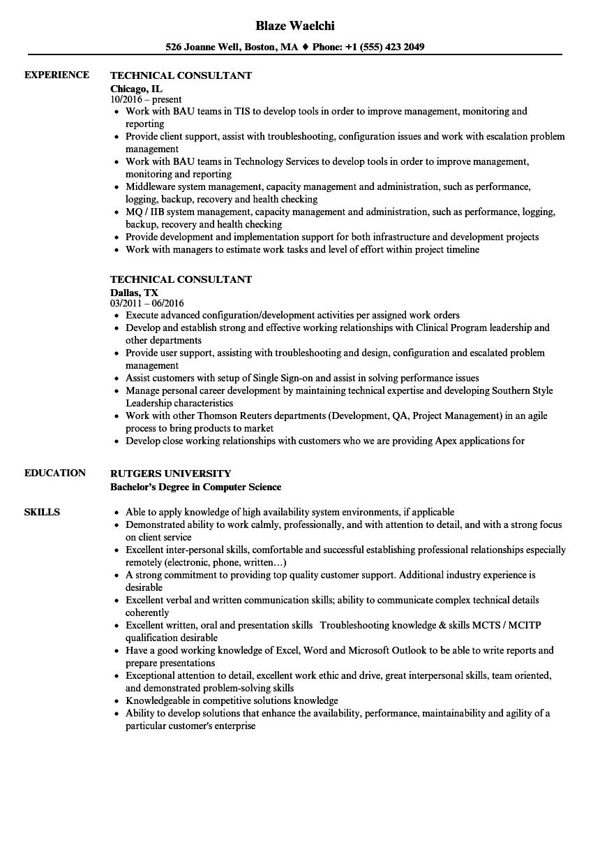Technical Consultant Resume Samples  Velvet Jobs