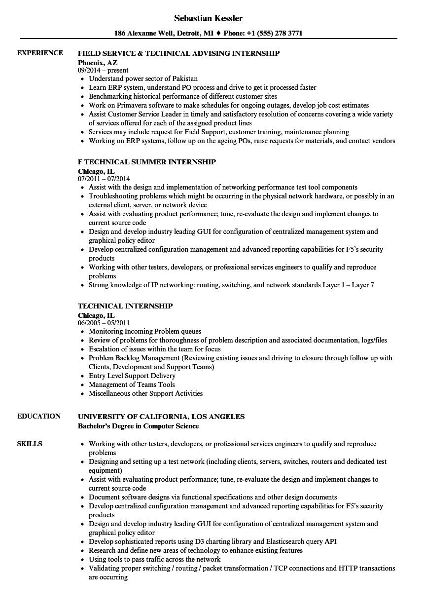 resume to apply for internship