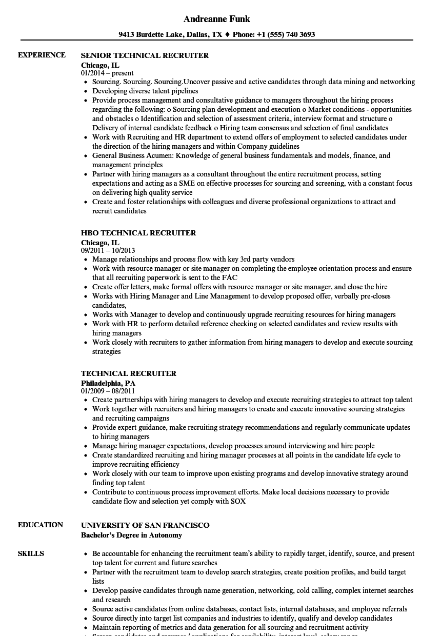 Technical Recruiter Resume Samples Velvet Jobs