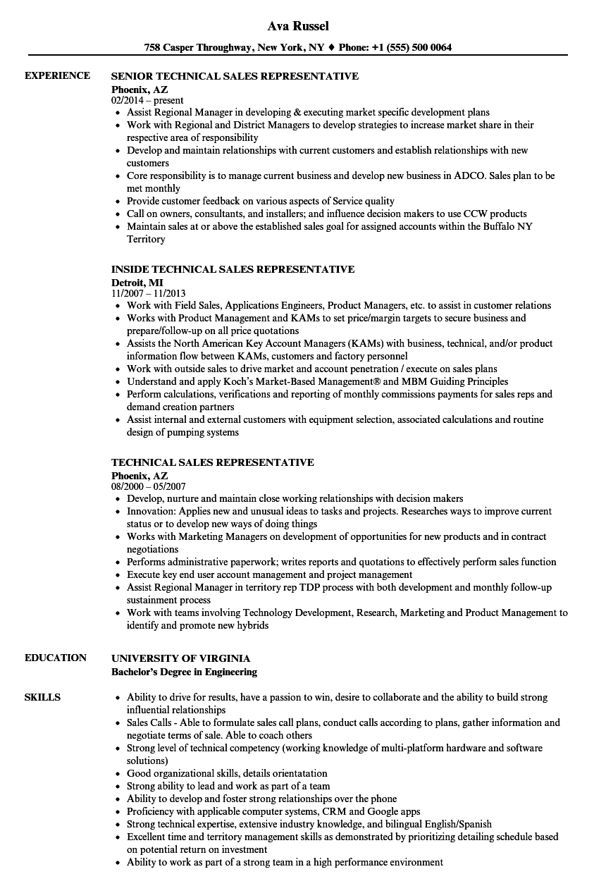 Technical Sales Representative Resume Samples Velvet Jobs