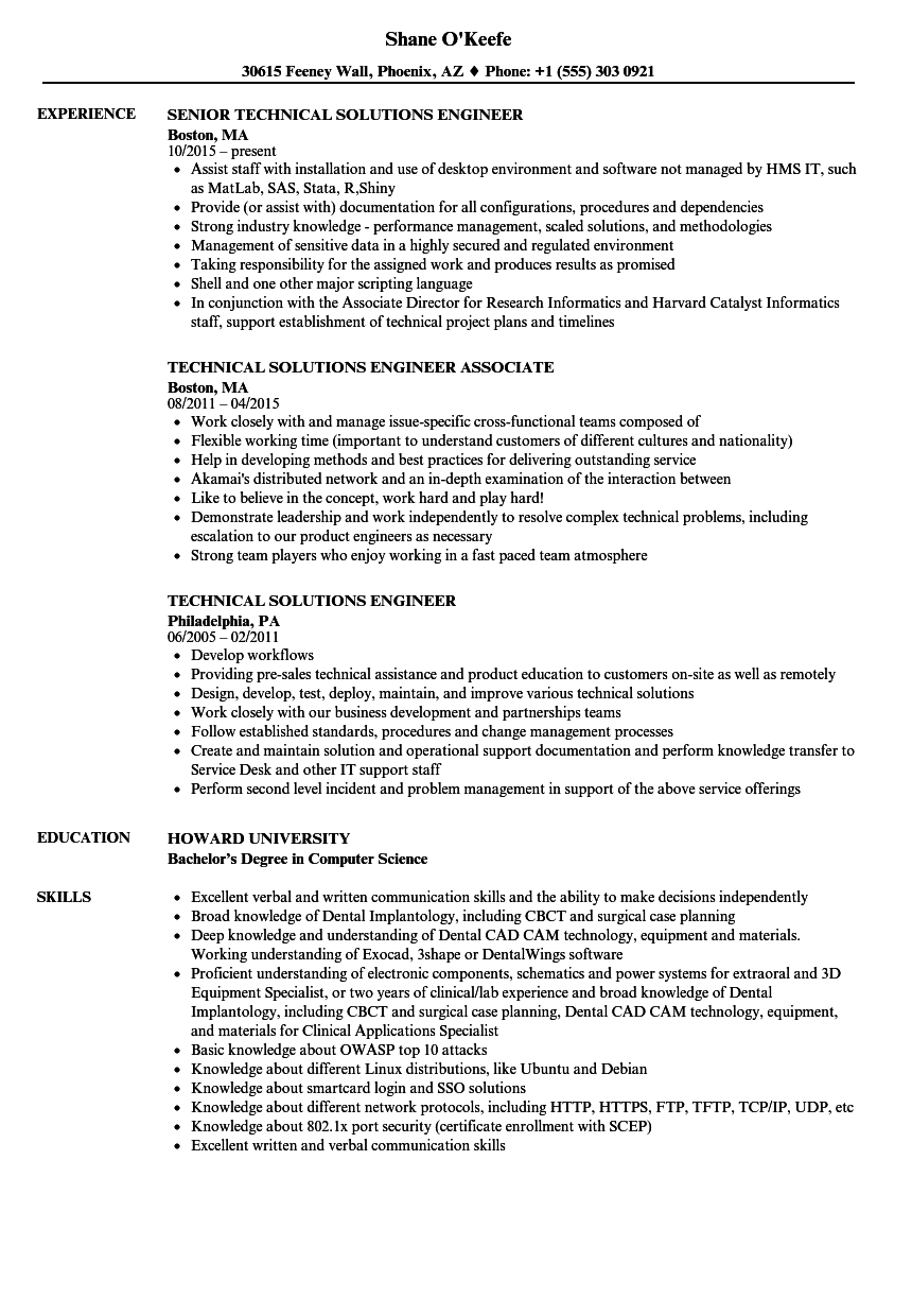 Technical Solutions Engineer Resume Samples Velvet Jobs