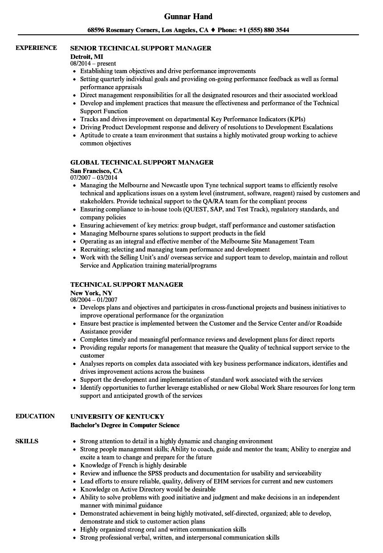 Technical Support Manager Resume Samples  Velvet Jobs