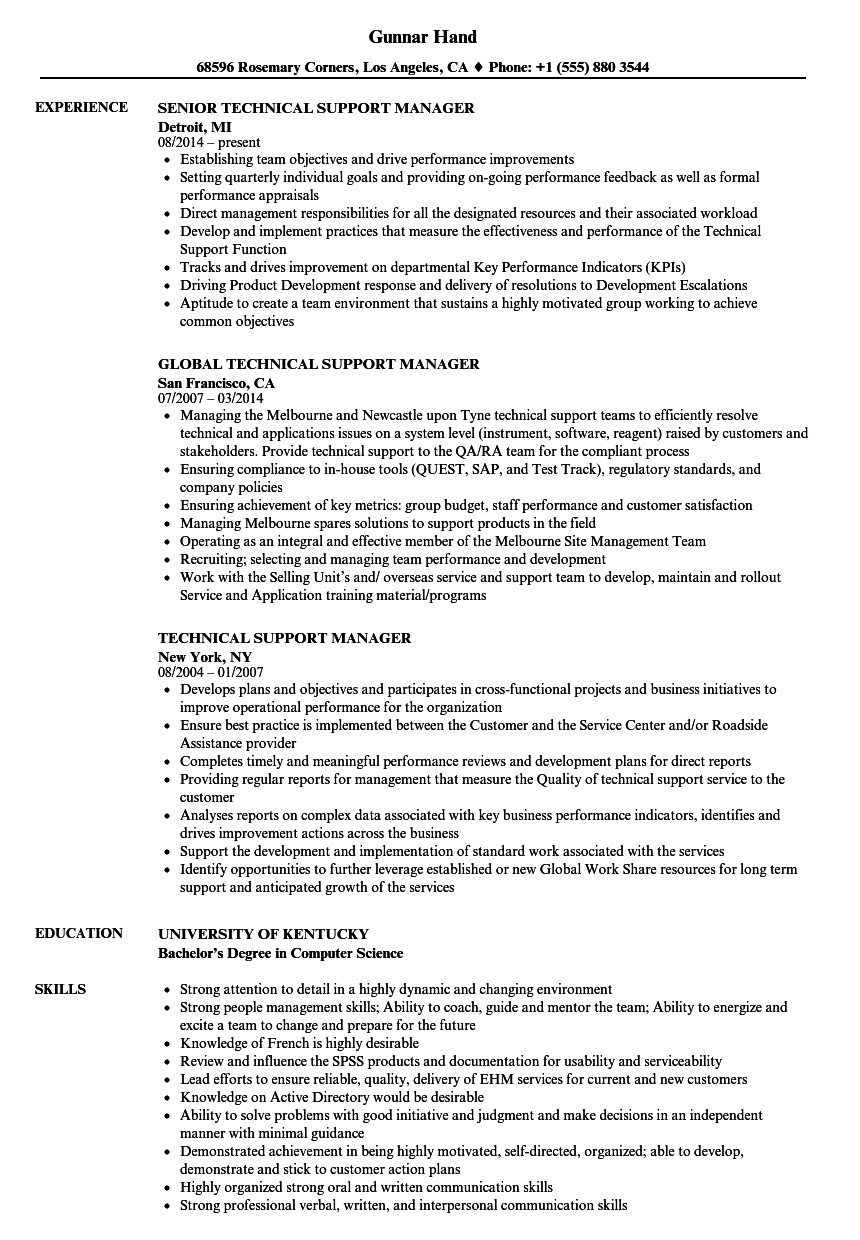 technical support experience resume sample