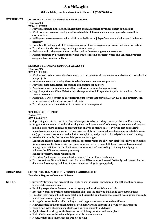 Technical Support Resume Samples  Velvet Jobs