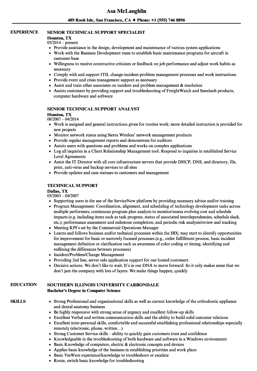 customer service technical support sample resume