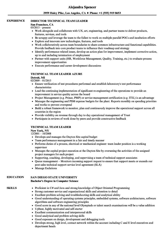Technical Team Leader Resume Samples Velvet Jobs