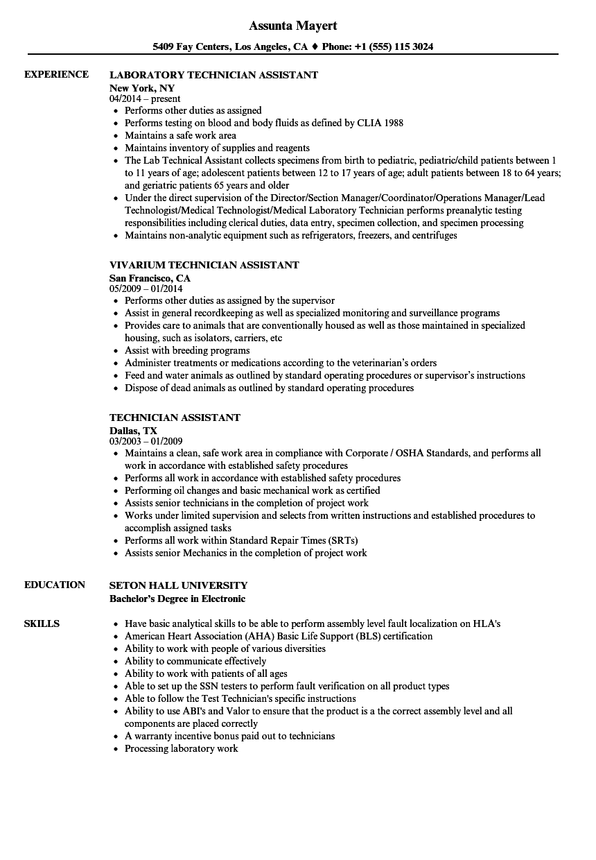 Download Technician Assistant Resume Sample As Image File
