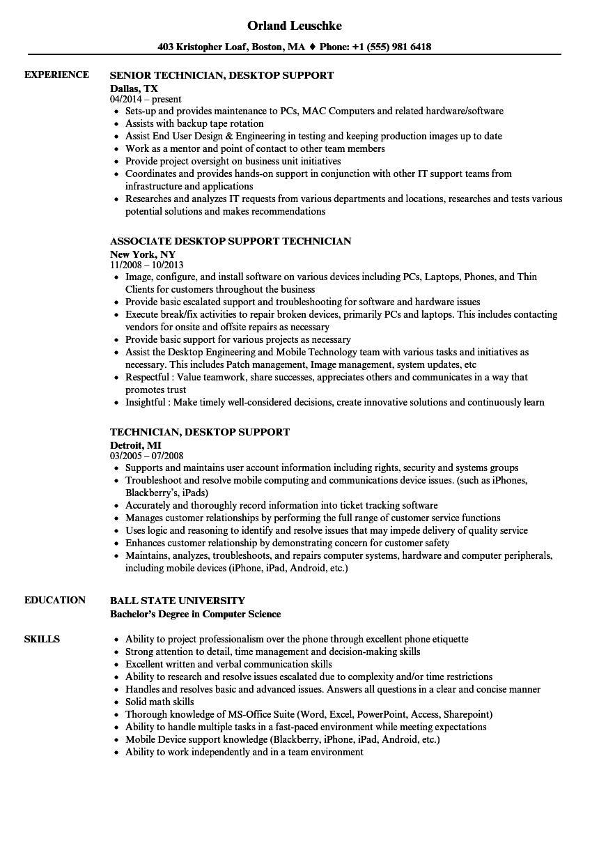 Technician Desktop Support Resume Samples Velvet Jobs