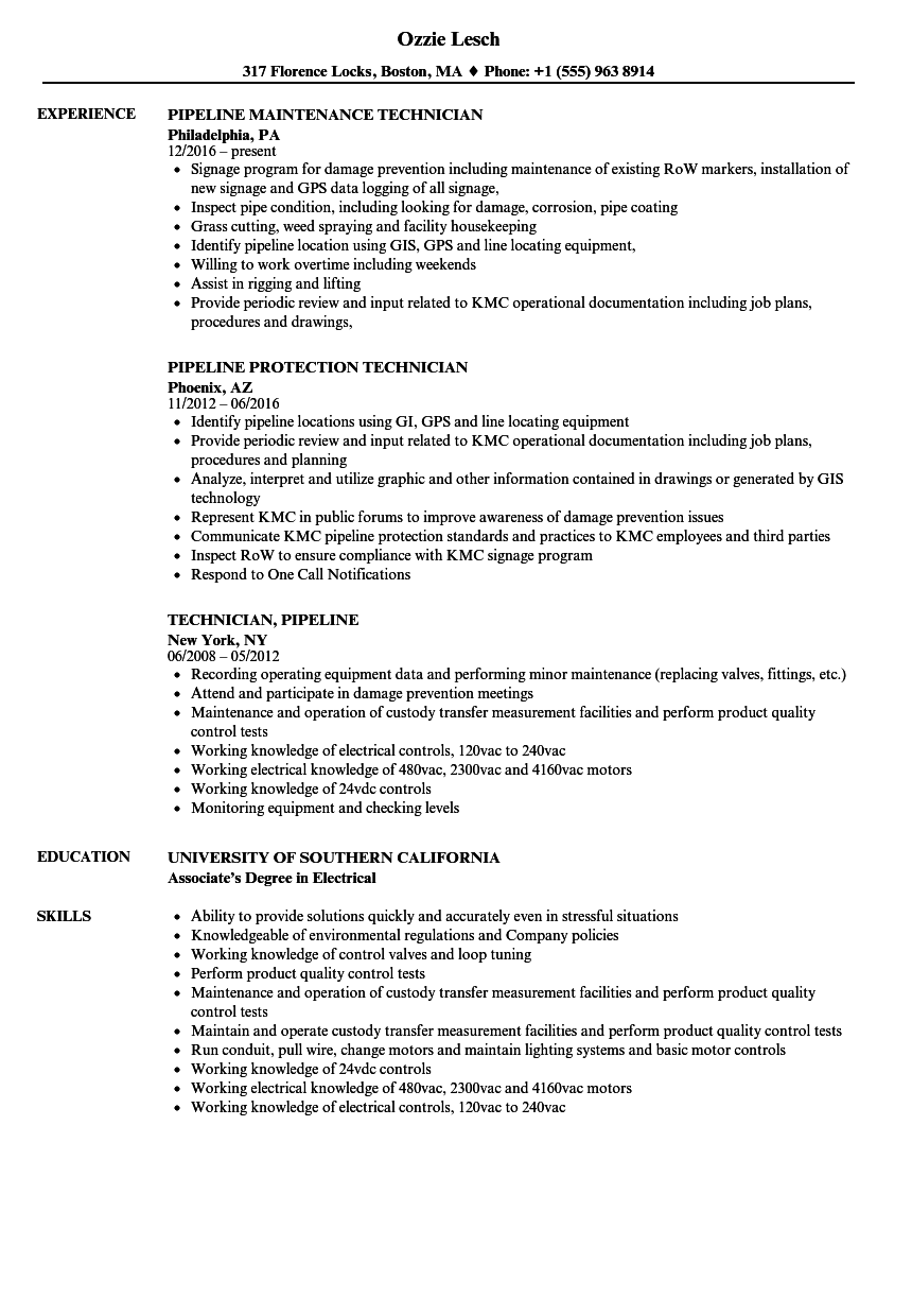Technician Pipeline Resume Samples Velvet Jobs