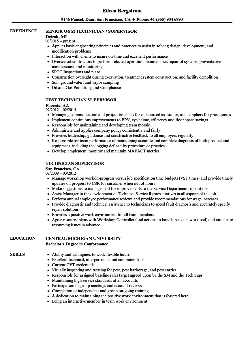 Post Production Supervisor Resume Samples