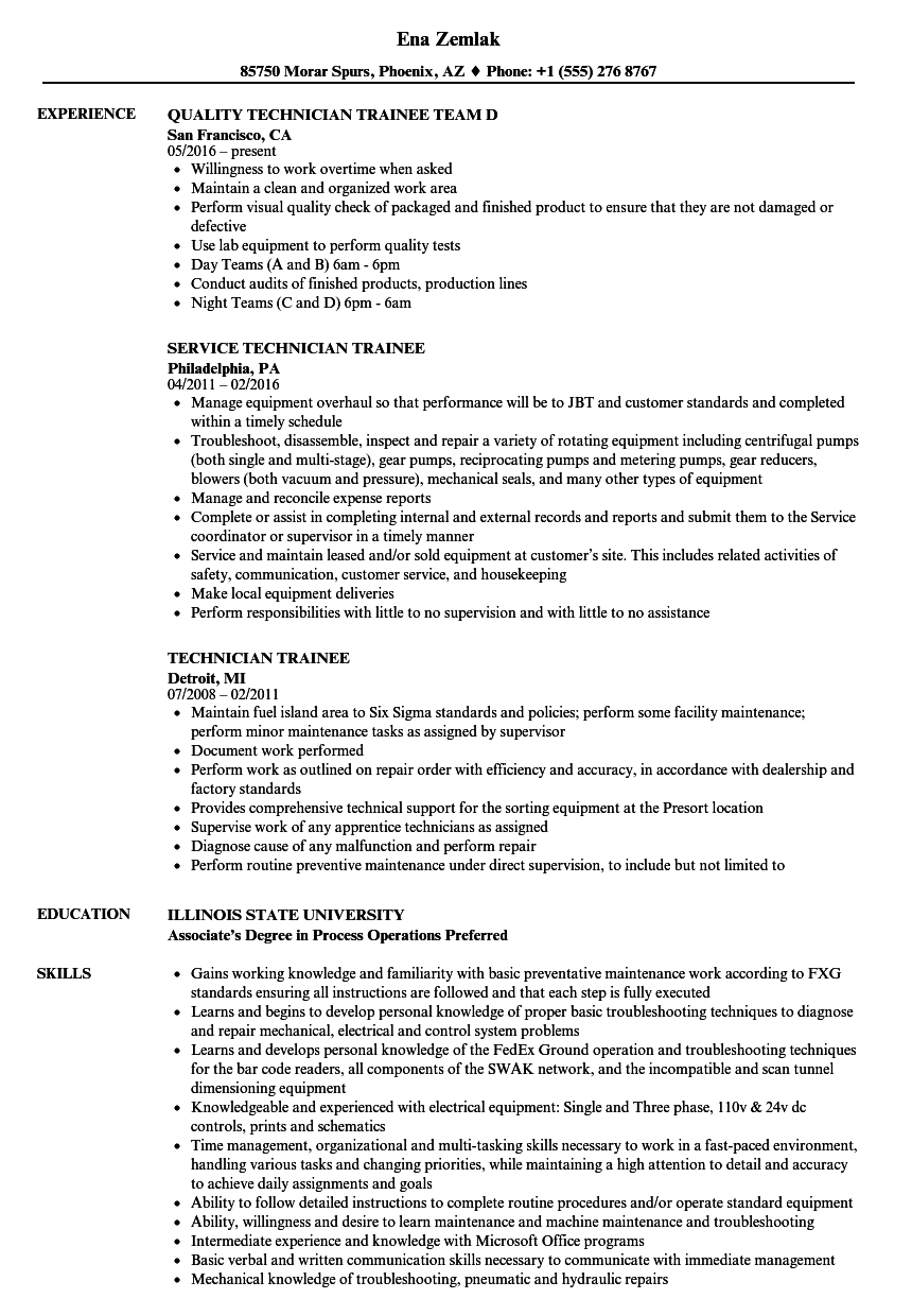 Technician Trainee Resume Samples  Velvet Jobs