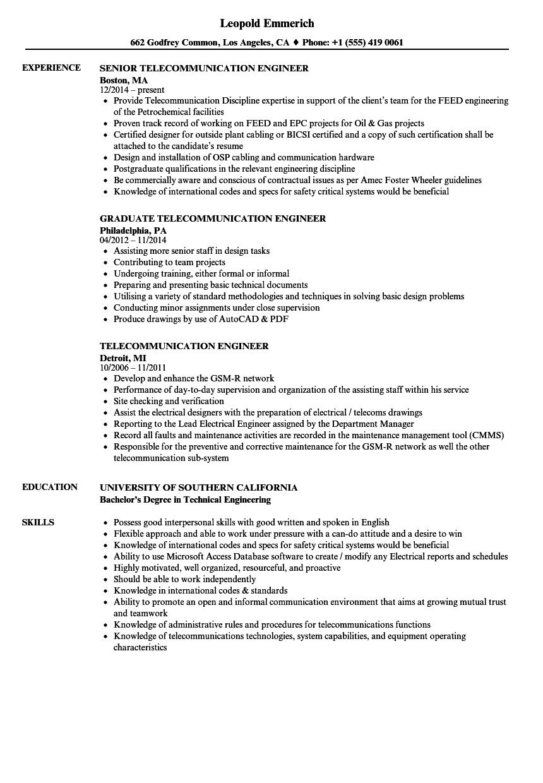 telecommunication engineer resume sample
