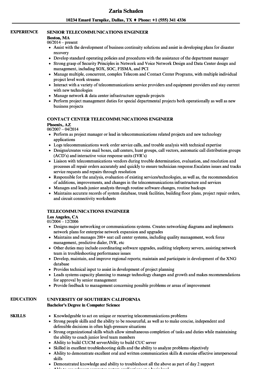 telecommunications resume examples