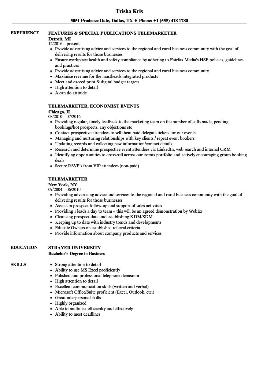 resume job description of telemarketer