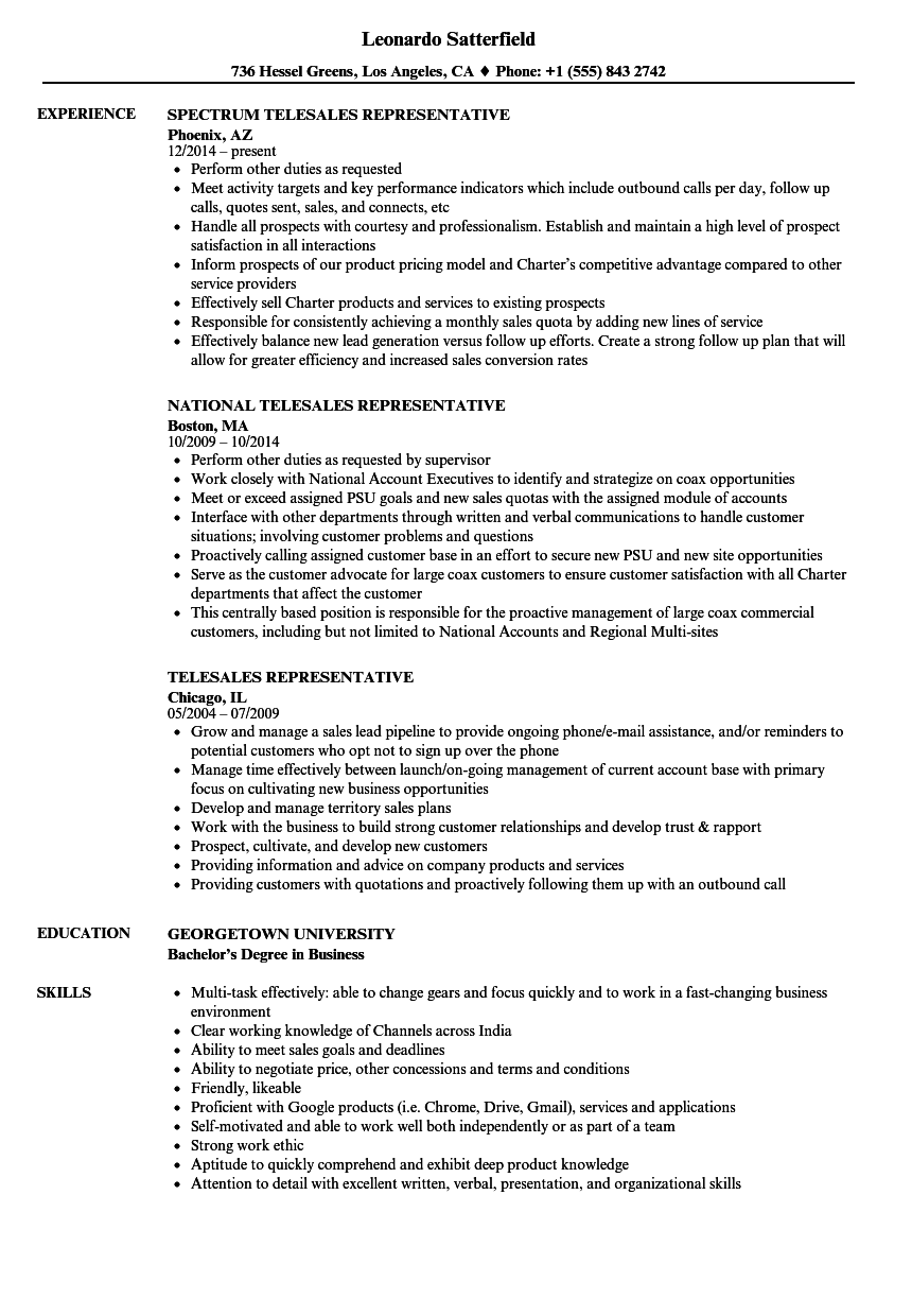 Telesales Representative Resume Samples Velvet Jobs