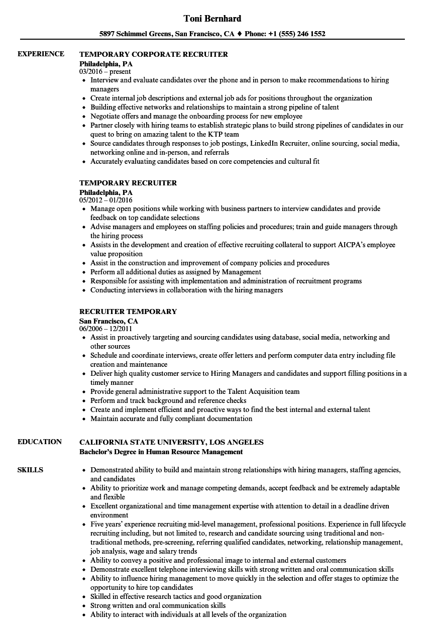 Temporary Recruiter Resume Samples  Velvet Jobs