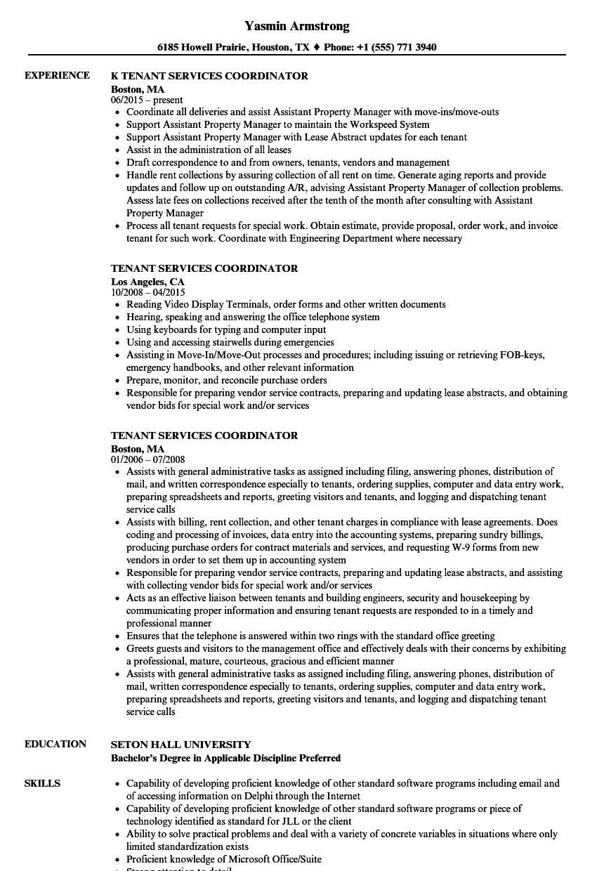 Tenant Services Coordinator Resume Samples Velvet Jobs