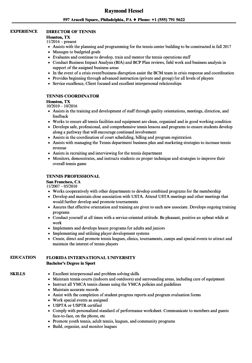 Tennis Resume Samples Velvet Jobs
