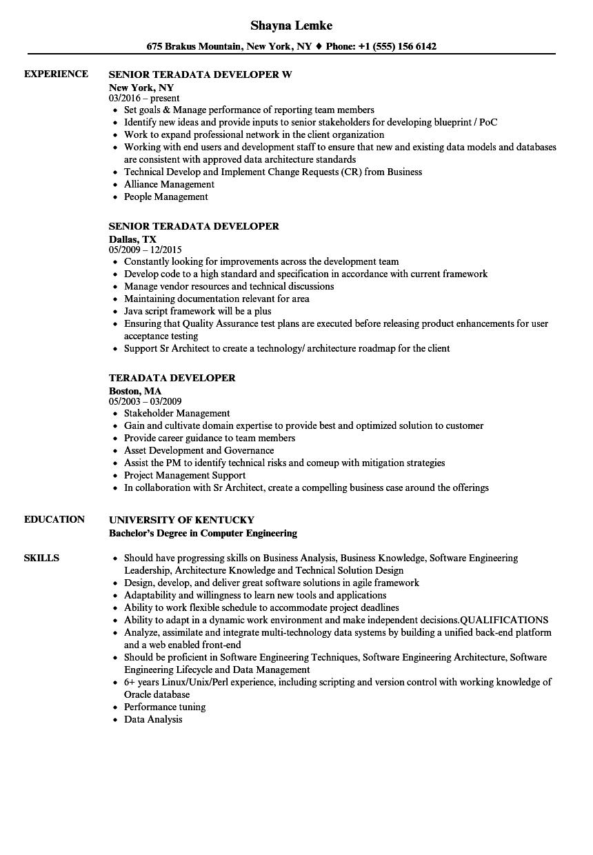 Teradata Developer Resume Samples Velvet Jobs