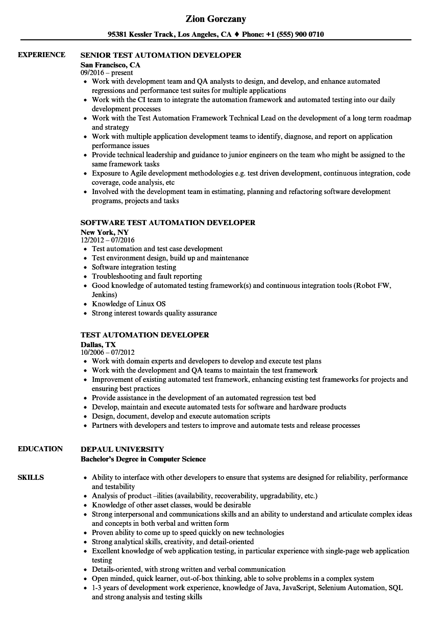 automation test manager sample resume
