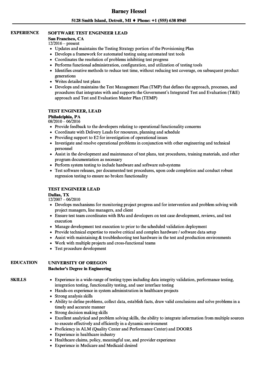 lead test engineer resume sample