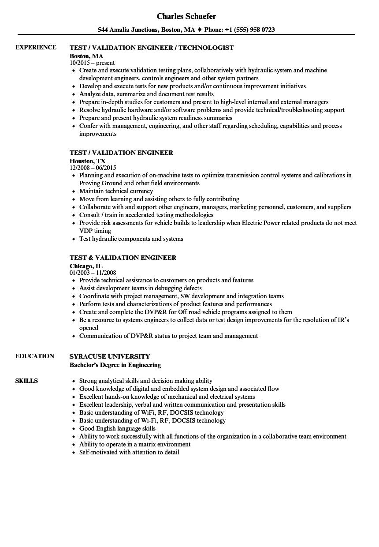 validation engineer resume sample