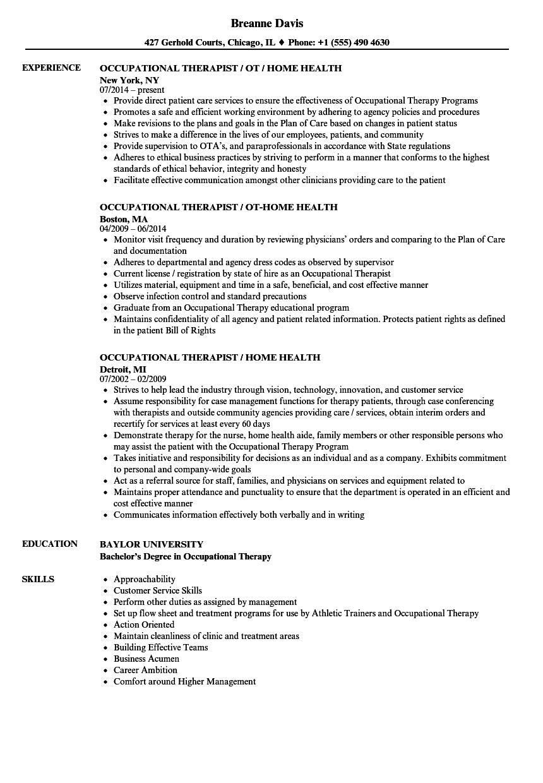Therapist Occupational Resume Samples Velvet Jobs