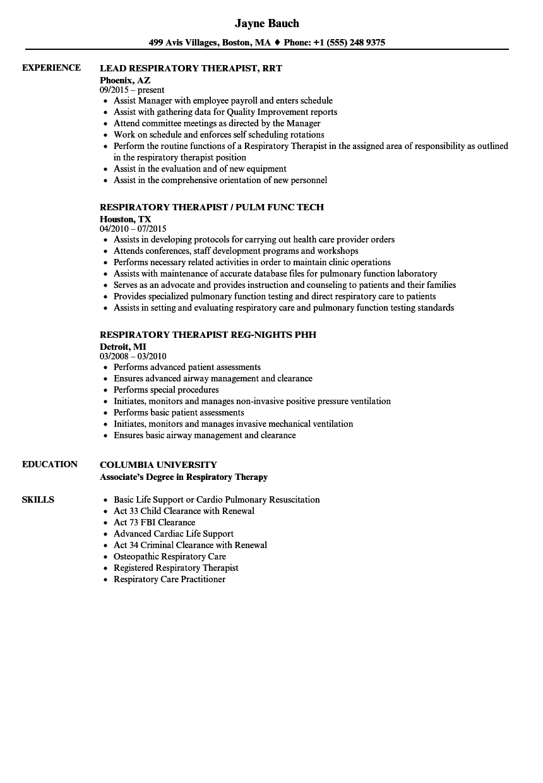 registered respiratory therapist resume sample