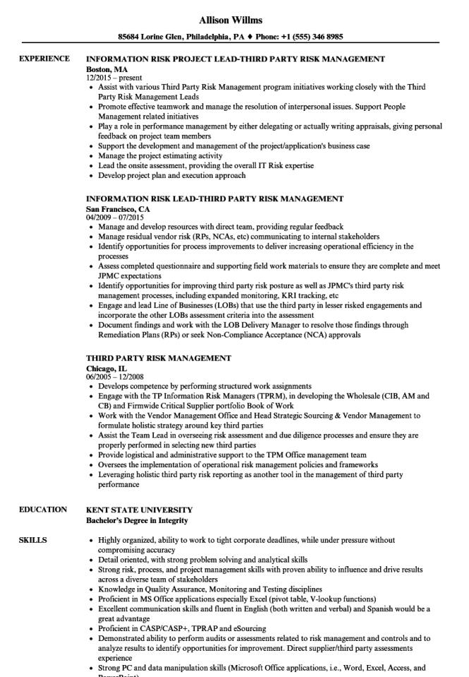 Vendor Management Resume Resume Sample