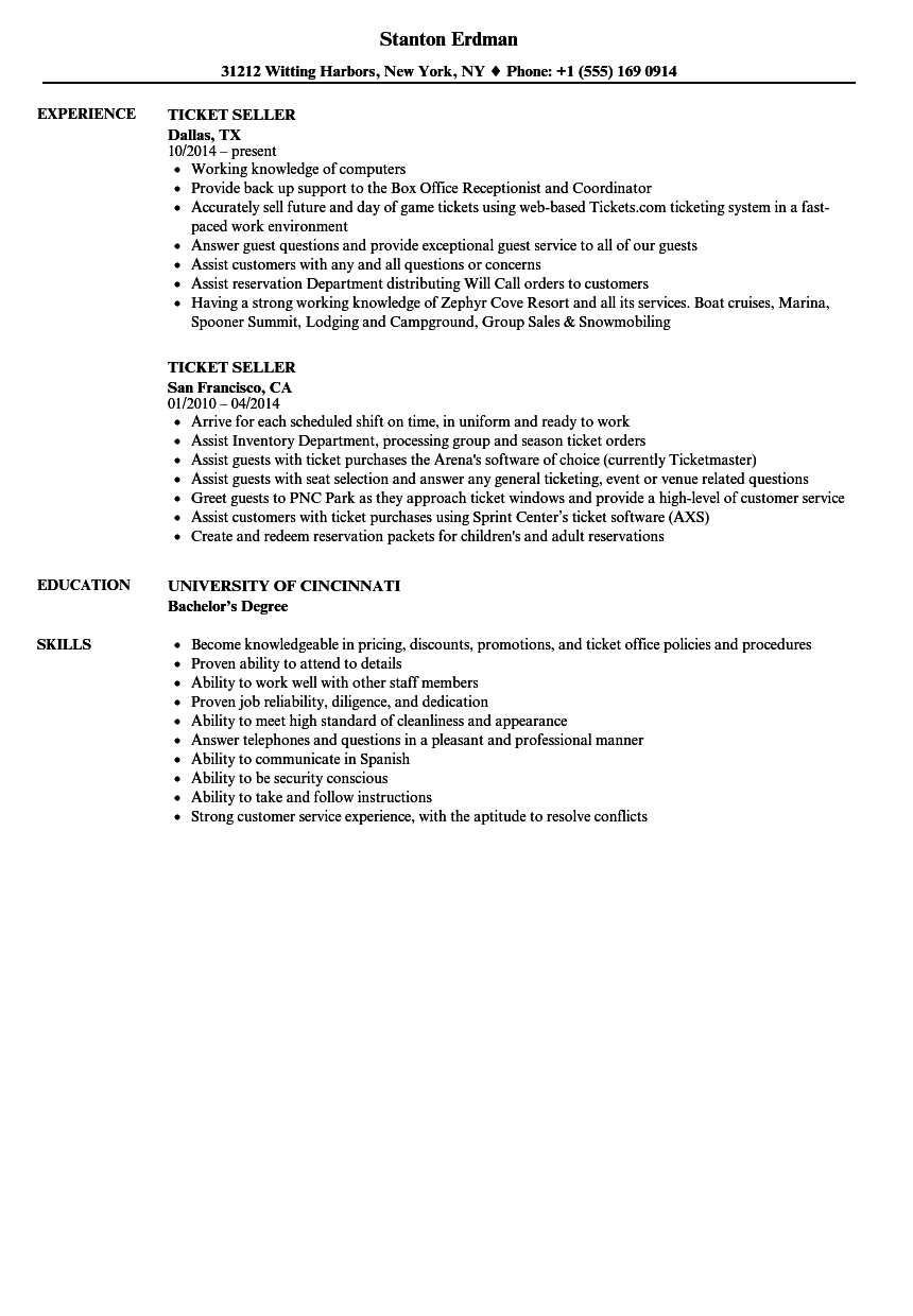 Ticket Seller Resume Samples Velvet Jobs