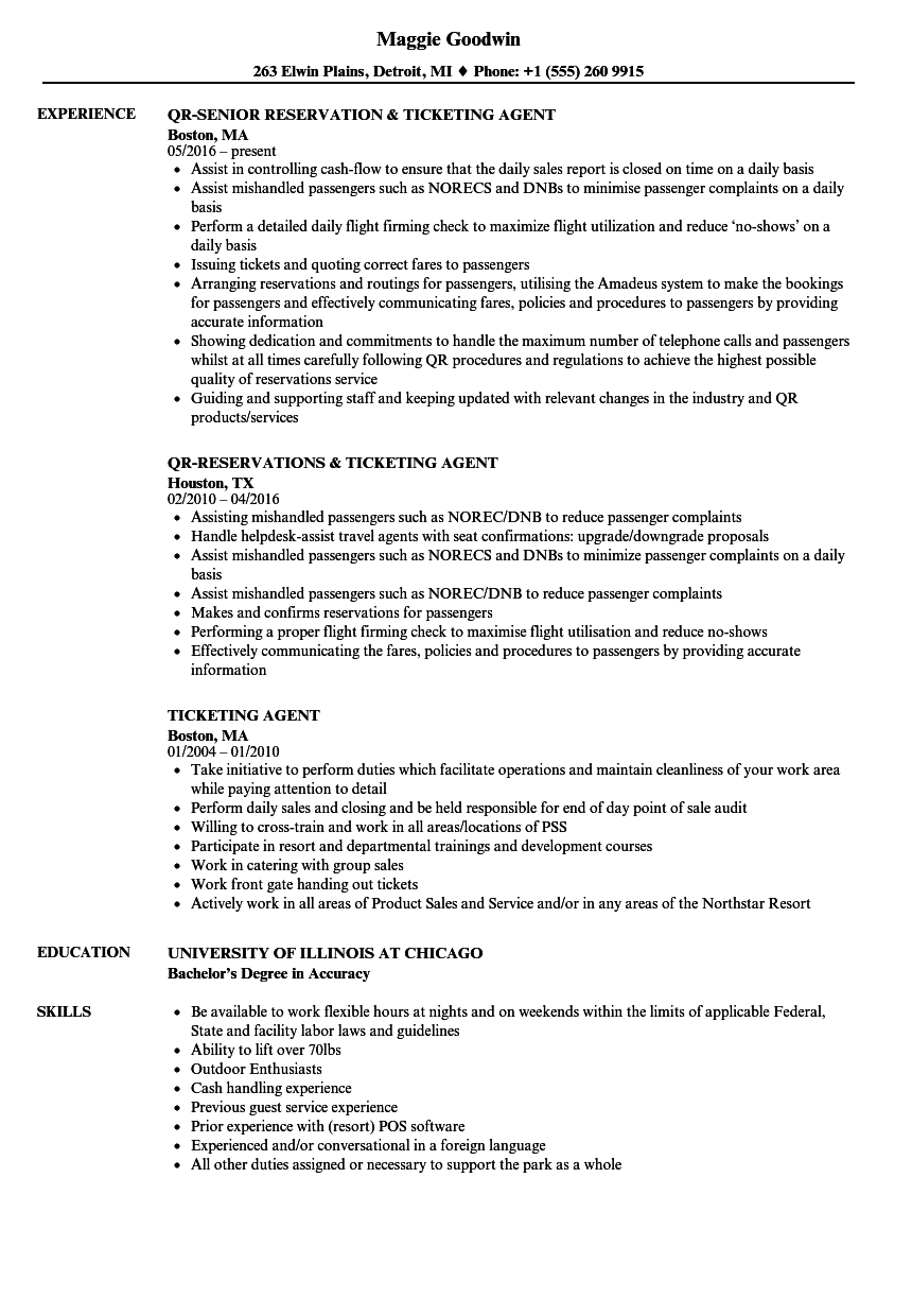 Customer Serviceticketing Agent Resume - Resume Templates: Airline Reservation Agent