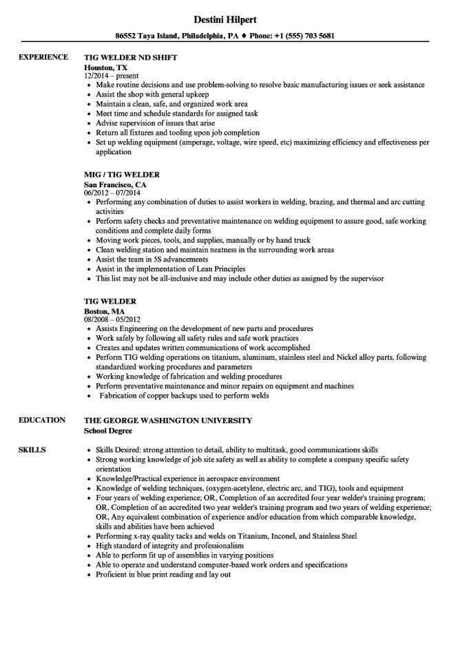 Welding Job Description Resume Resume Sample