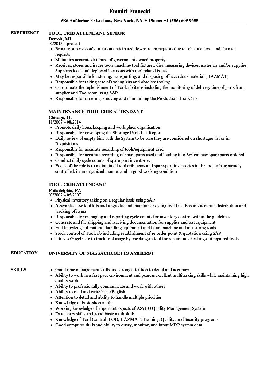 Tool Crib Attendant Resume Samples Velvet Jobs