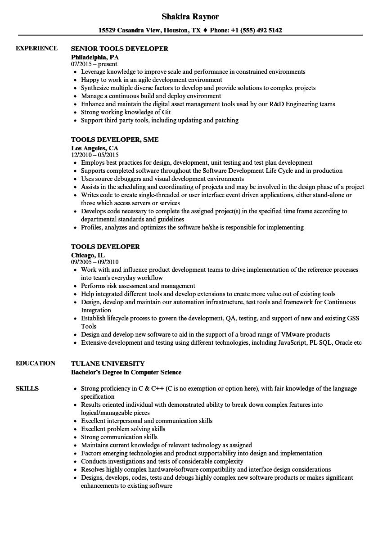 monitor it developer resume sample