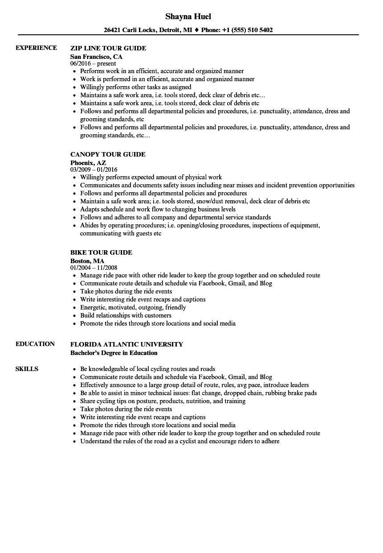 sample tour management resume