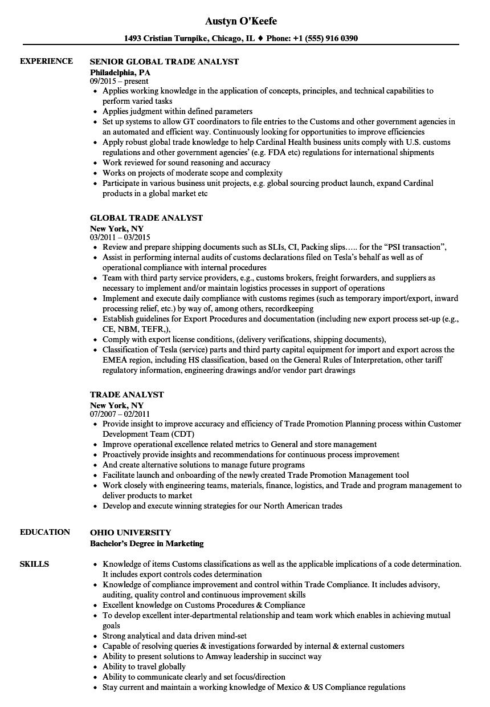 Trade Analyst Resume Samples  Velvet Jobs