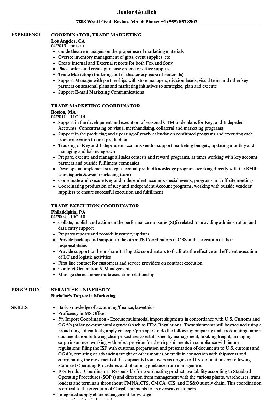 Trade Coordinator Resume Samples  Velvet Jobs