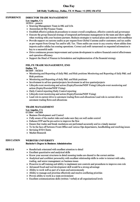 Trade Management Resume Samples  Velvet Jobs
