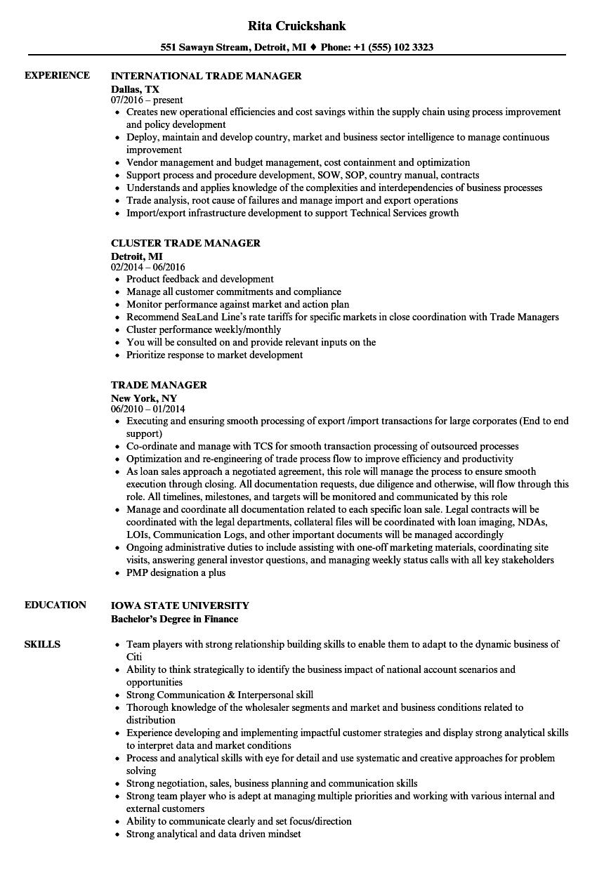 Trade Manager Resume Samples  Velvet Jobs