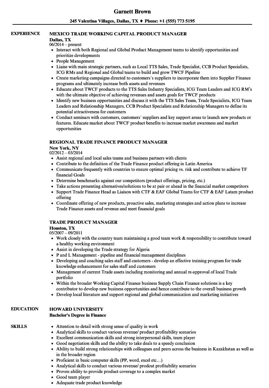 trade product manager resume samples velvet jobs - Product Manager Resume Samples