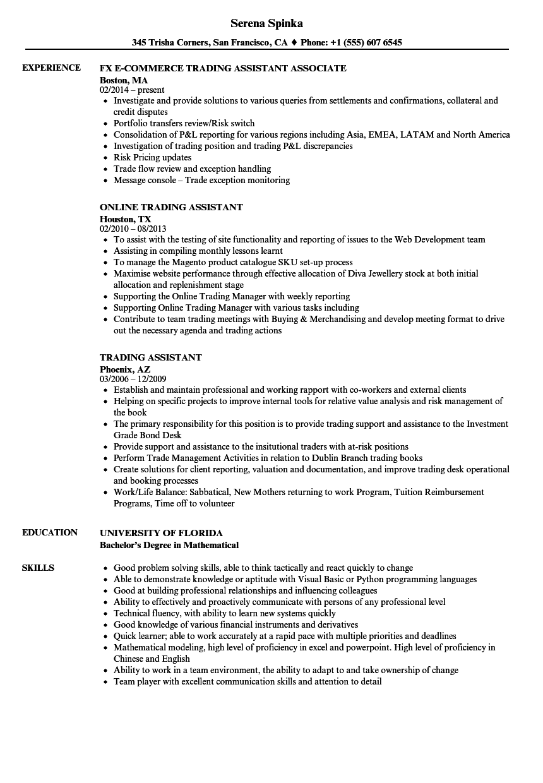 Trading Assistant Resume Samples  Velvet Jobs