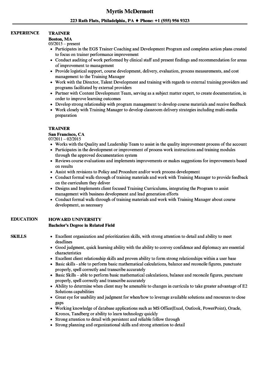 Training Resume Sample