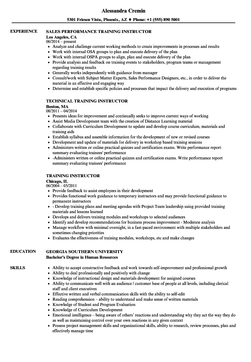 Training Instructor Resume Samples  Velvet Jobs