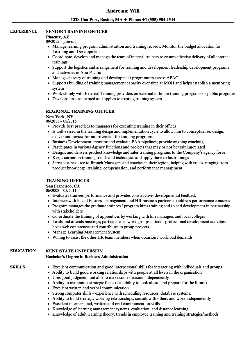Training Officer Resume Samples Velvet Jobs
