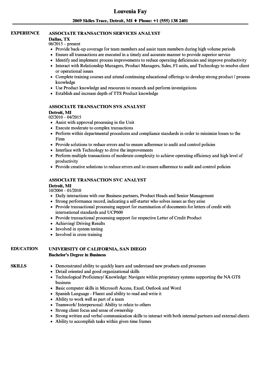 Transaction Associate Resume Samples Velvet Jobs