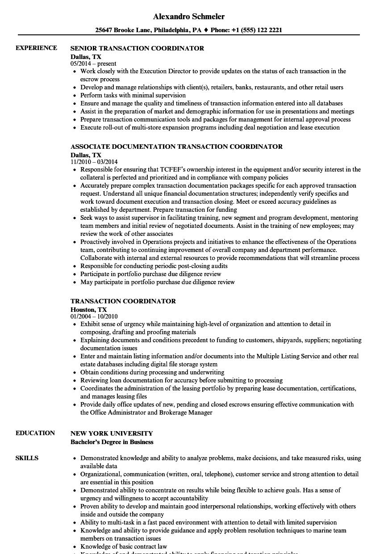 Transaction Coordinator Resume Samples Velvet Jobs