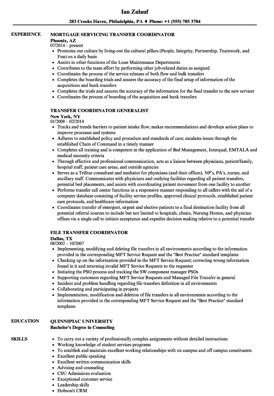 transfer resume sample