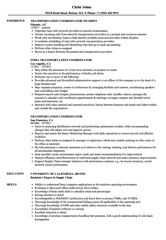 Download Transportation Coordinator Resume Sample As Image File