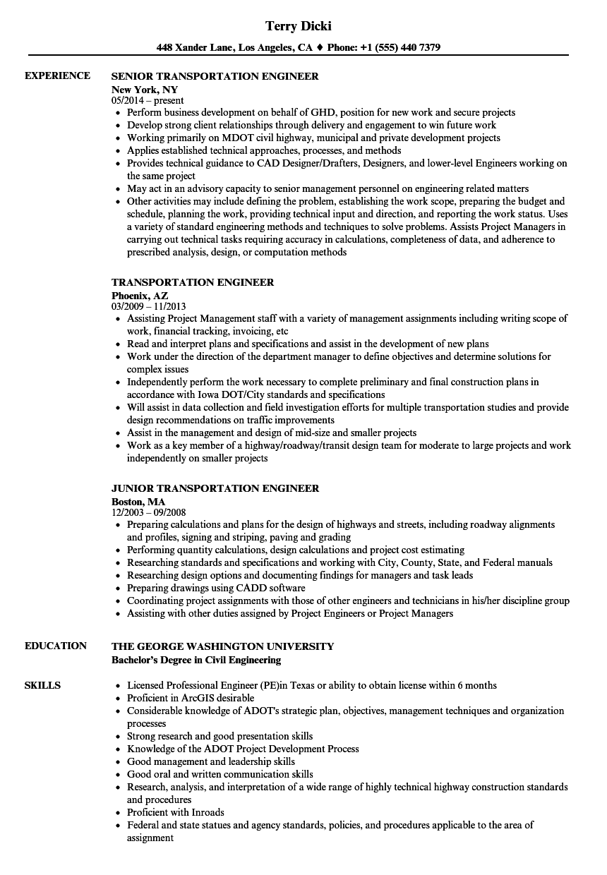 transportation engineer resume sample